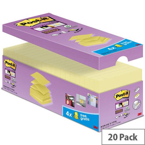 Post-it 76 x 76mm Super Sticky Z-Notes Super Strong Canary Yellow  20 Pads/Pack and 100 Sheets/Pad