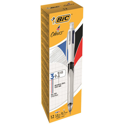 Bic 4 Colours Combination Medium Ballpoint Pen Black/Blue/Red + Medium Mechanical Pencil Pack of 12