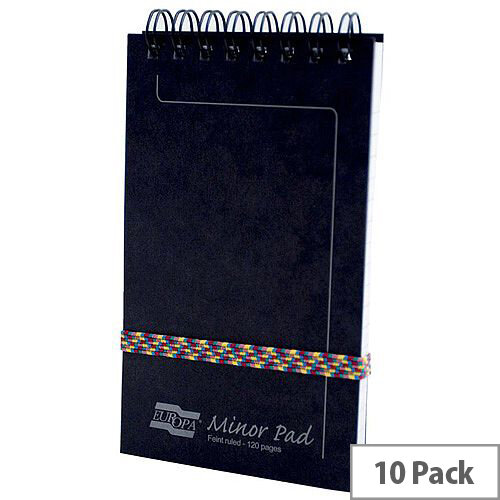 Europa 3012 Minor Notepad Wirebound Elasticated Ruled 120 Pages Black Pack of 10