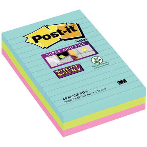 Post-it Super Sticky 101 x 152mm Meeting Notes Ruled Assorted Colours  3 x 90 Sheets - Aquawave/Neon Green/Neon Pink