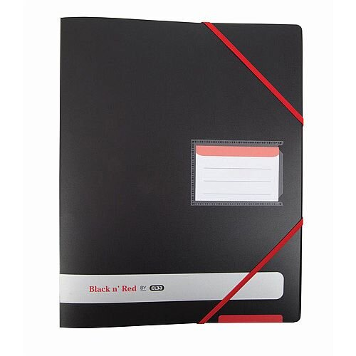 Black n Red A4 4 O-Rings 16mm Capacity Polypropylene Covered Ring Binder Black