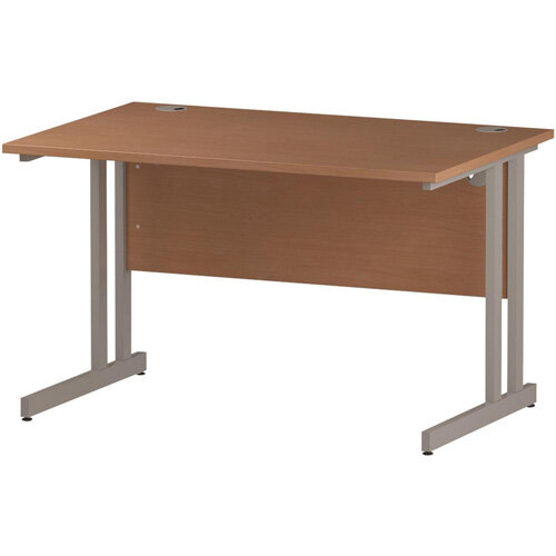 Rectangular Double Cantilever Silver Leg Office Desk Beech W1200xD800mm