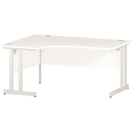 L-Shaped Corner Left Hand Double Cantilever White Leg Office Desk White W1600mm
