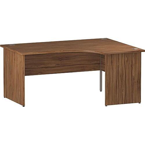 L-Shaped Corner Right Hand Panel End Office Desk Walnut W1600mm