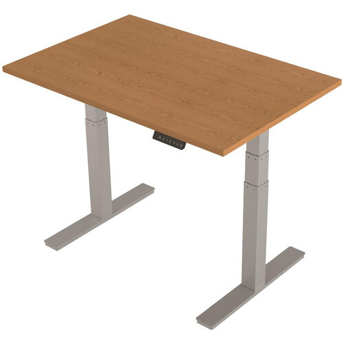 1200x800mm Height Adjustable Rectangular Sit-Stand Desk Oak with Silver Frame