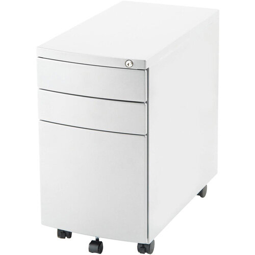 Steel Storage Slim Mobile Desk Pedestal with 3 Drawers White