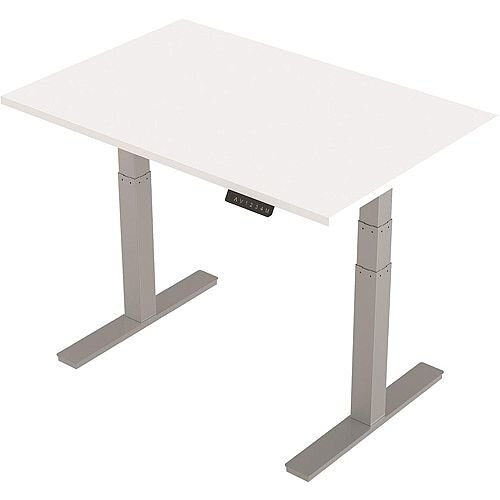 1200x800mm Height Adjustable Rectangular Sit-Stand Desk White with Silver Frame