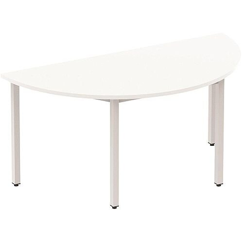 Semi-Circular Table White with Silver Frame 1600x800mm