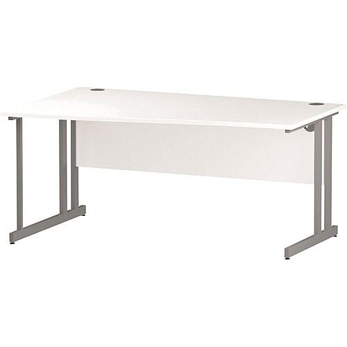 Wave Double Cantilever Silver Leg Left Hand Office Desk White W1600mm