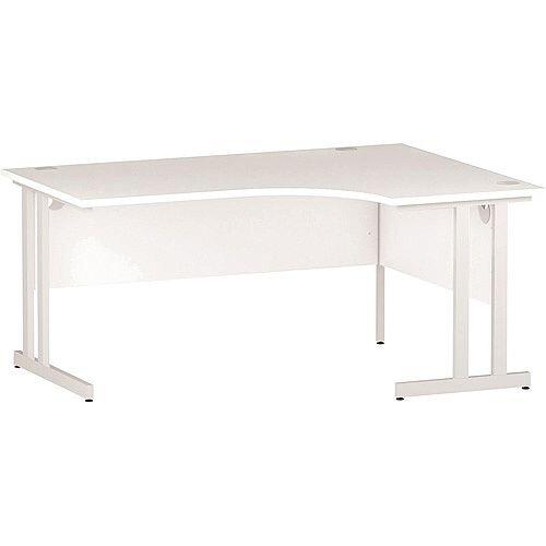 L-Shaped Corner Right Hand Double Cantilever White Leg Office Desk White W1600mm