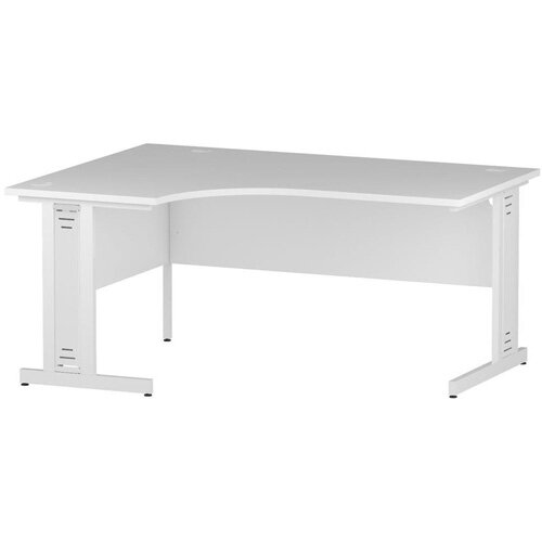 L-Shaped Corner Left Hand Cable Managed White Leg Office Desk White W1600mm