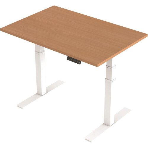 1200x800mm Height Adjustable Rectangular Sit-Stand Desk Beech with White Frame