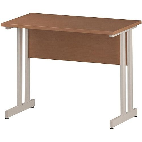 Rectangular Double Cantilever White Leg Slimline Office Desk Beech W1000xD600mm