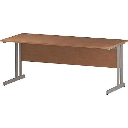 Rectangular Double Cantilever Silver Leg Slimline Office Desk Beech W1800xD600mm