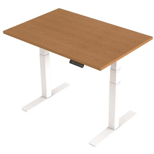 1200x800mm Height Adjustable Rectangular Sit-Stand Desk Oak with White Frame