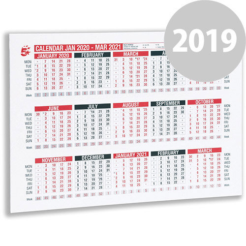 5 Star Office 2020 Wall or Desk Calendar Jan 2019-March 2020 A4 297x210mm White