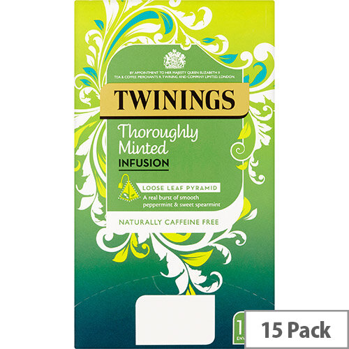 Twinings Infusion Tea Bags Individually-wrapped Minted Ref 0403366 Pack of 15