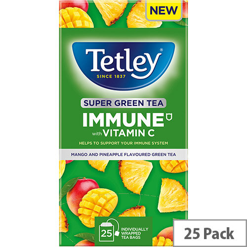 Tetley Super Green Tea IMMUNE Mango &Pineapple with Vitamin C Ref 4691A Pack of 25