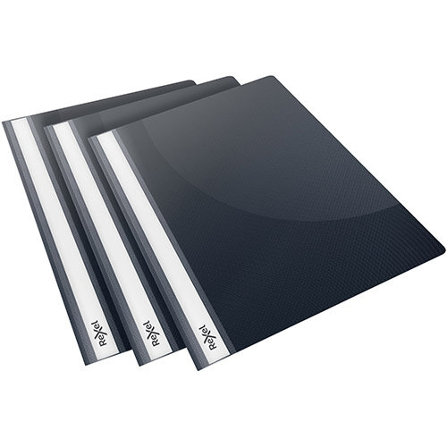 Rexel Choices Report Folder Clear Front Capacity 160 Sheets A4 Black Ref 2115643 Pack of 25