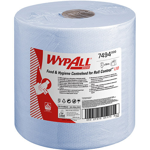 WypAll L10 Centrefeed Hand Towel Roll Single Ply 380x185mm 630 Sheets per Roll Blue Ref 7494 Pack of 6