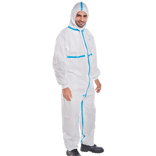Click Once Microporous Disposable Protective Work Coverall Type 4/5/6 Size XL White Pack of 20 Ref COC30WS
