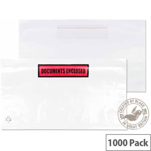 Blake Purely Packaging DL 235mm x 132mm Wallet Peel and Seal Printed Documents Enclosed Envelope White/Clear Pack of 1000
