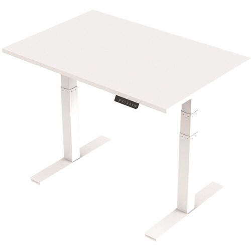 1200x800mm Height Adjustable Rectangular Sit-Stand Desk White with White Frame