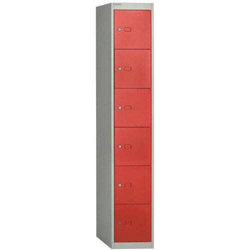 Bisley Steel Locker 457 Six Door Grey/Red