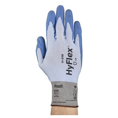Ansell HyFlex 18 Gauge, Size 8 Cut-Resistant Palm Coated Ultralight-Duty Work Gloves Blue/White