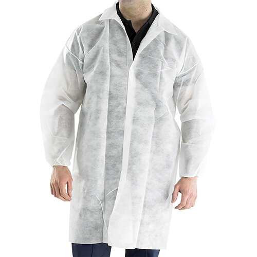 Click Once Poly Disposable Visitors Coat Size M White Pack of 50 Ref PDVCM