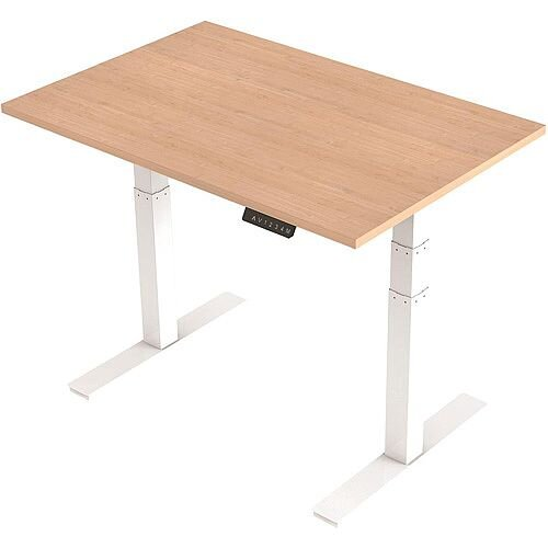 1200x800mm Height Adjustable Rectangular Sit-Stand Desk Maple with White Frame