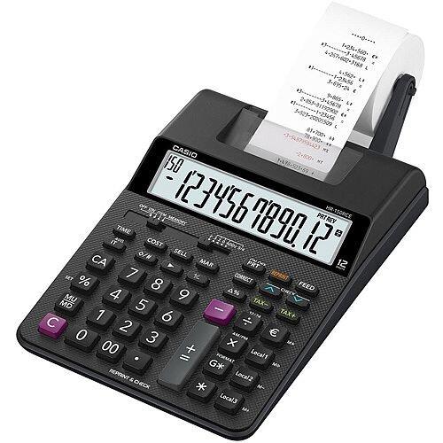 Casio HR-150RCE Printing Desktop Calculator Euro Conversion Tax Calculation Battery Power 12 Digit LC Display Black