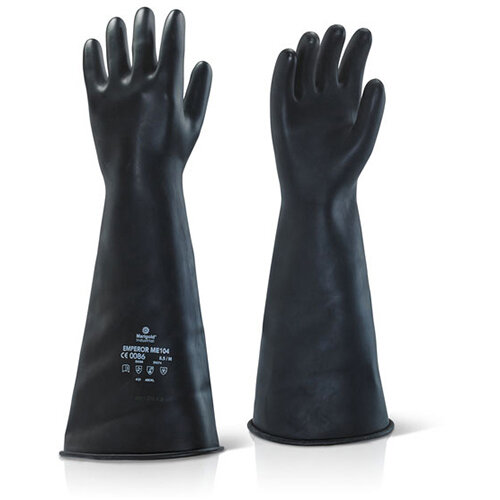 Ansell Industrial Latex Medium Weight 17inch Gauntlet Black Size 08 Ref ILMW1708