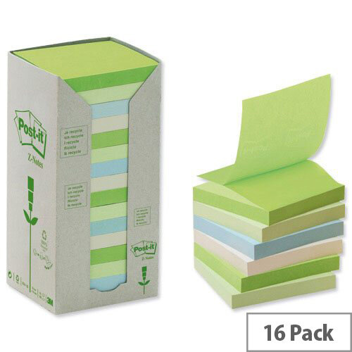 Post-it Z-Note Tower Recycled 100 Sheets per Pad 76x76mm Pastel Assorted Pack 16