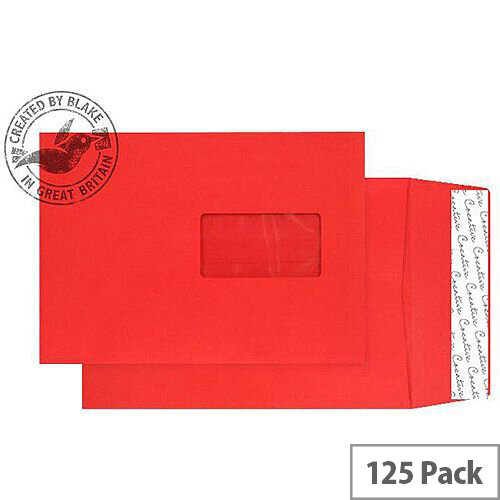 Purely Packaging Envelope Gusset P& 140gsm C5 Window Red Ref 6061W [Pack 125]