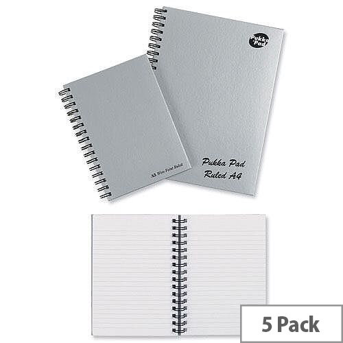 Pukka Pad A4 Wirebound Notebook Hardback Silver Pack 5