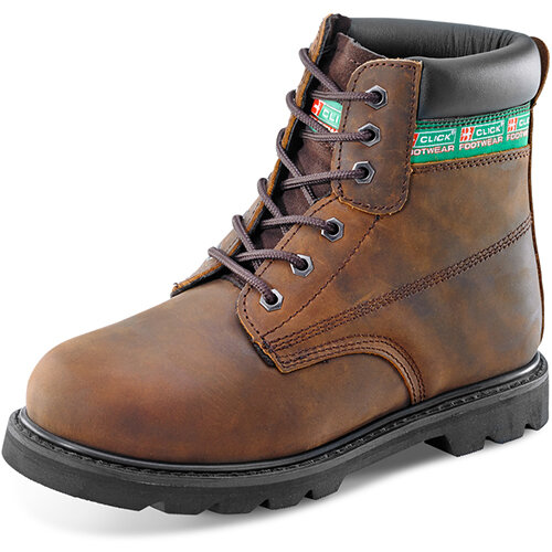Click Footwear Goodyear Welted 6in Leather Safety Boots Size 11 Brown - Steel Toe Cap &Midsole Protection, Oil Resistant &Heat Resistant Sole, Slip Resistant Ref GWBBR11