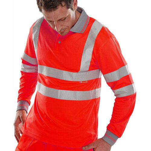 B-Seen Long Sleeved Hi-Vis Polo Shirt EN ISO20471 Size 2XL Red Ref BPKSLSENREXXL