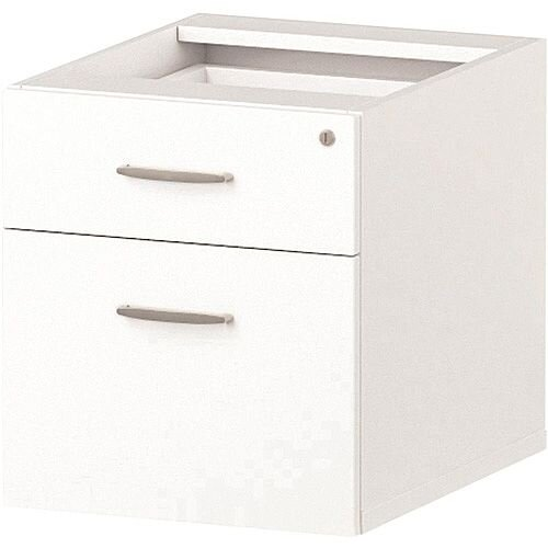 2 Drawer Fixed Desk Pedestal White