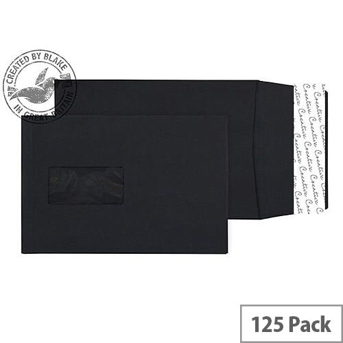 Purely Packaging Envelope Gusset P& 140gsm C5 Window Black Ref 6141W [Pack 125]