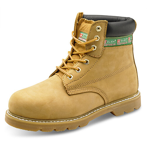 Click Footwear Goodyear Welted 6in Leather Safety Boots Size 10.5 Nubuck - Steel Toe Cap &Midsole Protection, Oil Resistant &Heat Resistant Sole, Slip Resistant Ref GWBNB10.5