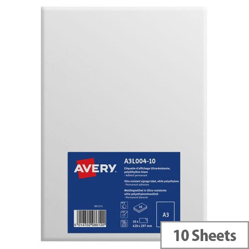 Avery A3 Display Labels Ultra Resistant Pack of 10