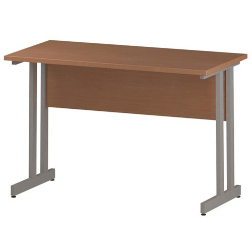 Rectangular Double Cantilever Silver Leg Slimline Office Desk Beech W1200xD600mm