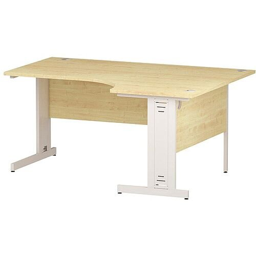 L-Shaped Corner Right Hand Cable Managed White Leg Office Desk Maple W1600mm