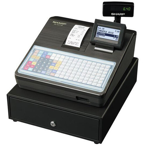 Sharp XE-A217B Cash Register Spill Resistant Flat Keyboard with 70 Direct Article Keys Black Ref XEA217B