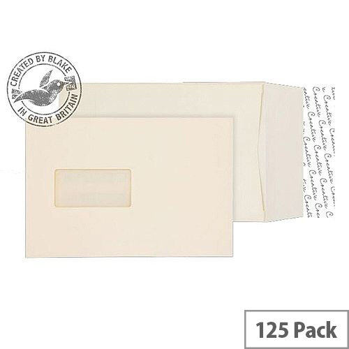 Purely Packaging Envelope P& 140gsm C5 Window Cream Wove Ref 6401W [Pack 125]