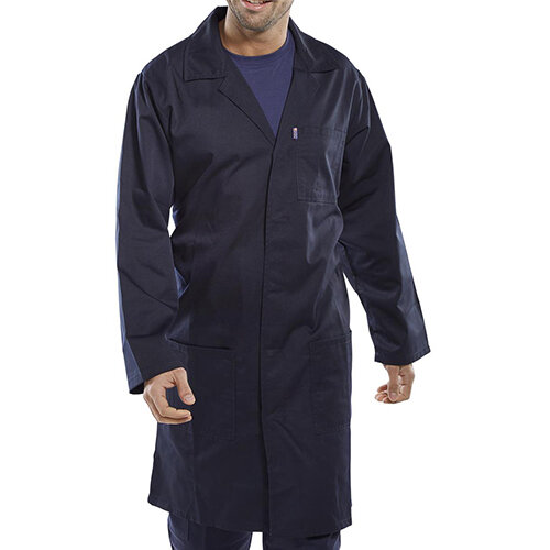 Click Workwear Poly Cotton Warehouse Coat 58in Chest Navy Blue Ref PCWCN58