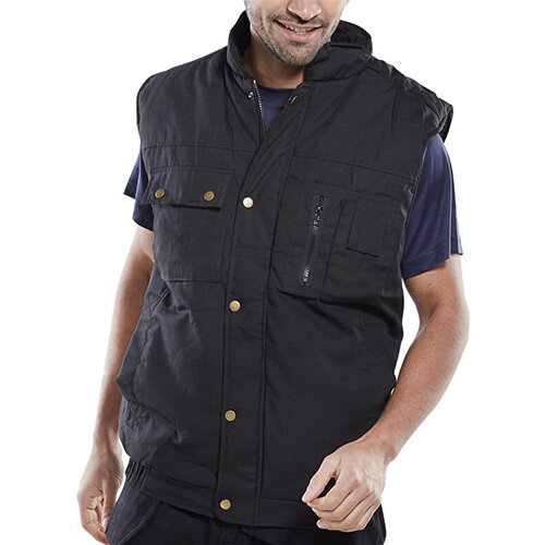 Click Workwear Hudson Bodywarmer Vest Size XL Black - Zip Front with Studded Storm Flap, 2 Stud Top &Lower Slanted Pockets Ref HBBLXL