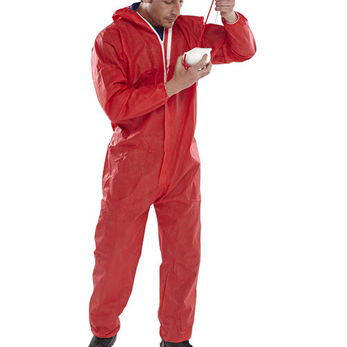 Click Once Disposable Boilersuit Work Overall Type 5/6 Size L Red Pack of 20 Ref COC10REL