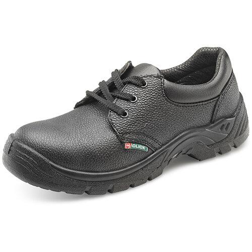 Click Footwear Double Density Economy Work Shoes S1 PU/Leather Size 10 (44) Black - Steel Toe Cap, Shock Absorber Heel, Anti-static, Oil Resistant Sole, Slip Resistant Ref CDDS10